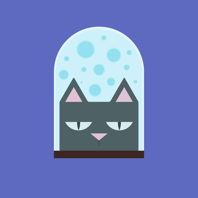 illustration of a cat head in a jar filled with blue liquid on a purple background