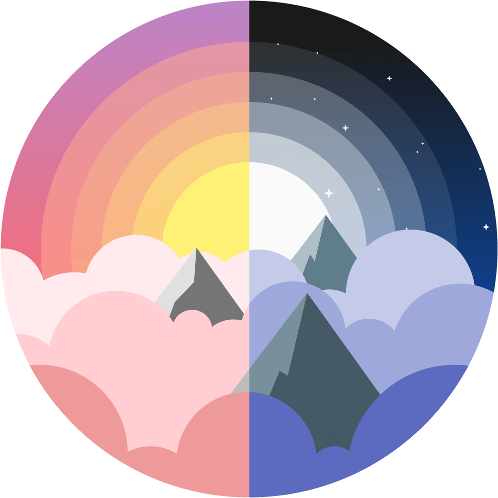 vector illustration of the tops of mountains poking through clouds, left half is daytime with a sun shining behind, right side is nighttime with the moon and stars shining behind, all enclosed in a circle